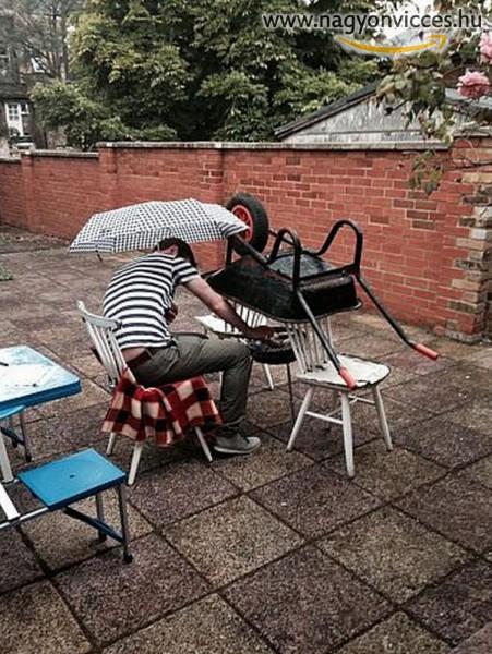 Így lehet rossz időben is kinn sütögetni