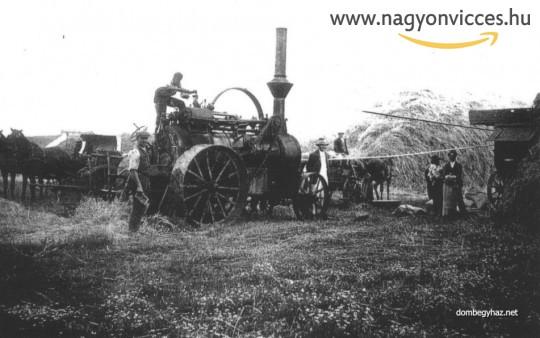 Cséplés gőzgéppel XX. század eleje