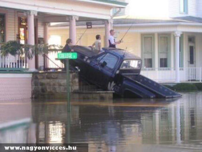Horgászat árvízben