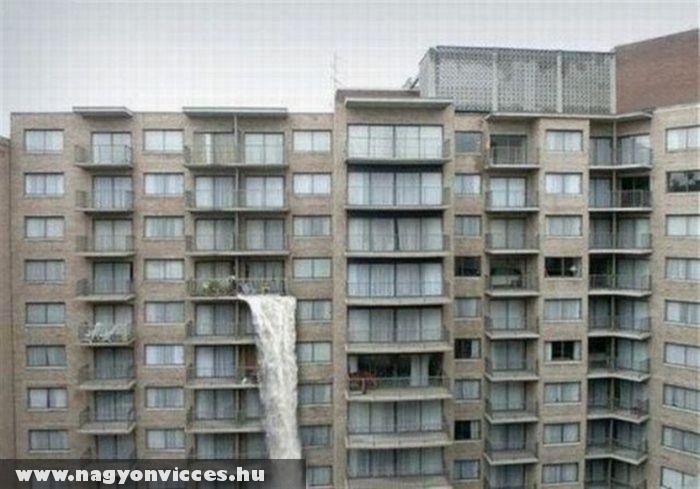 Vízesés az erkélyen