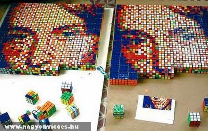 Arckép Rubik-kockából