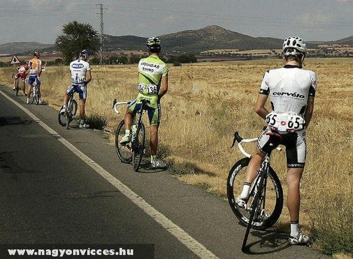 Szünet a kerékpárversenyben