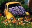 Autós virágágyás